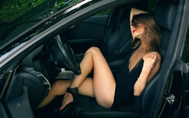 Preview wallpaper Sexy girl in car, beautiful legs