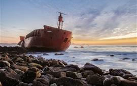 Navio, mar, pedras
