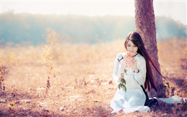 Preview wallpaper Smile Asian girl, long hair, white dress, under a tree