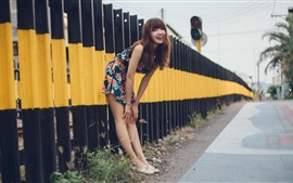 Preview wallpaper Smile Asian girl, railroad, fence