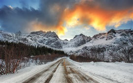Preview wallpaper Snow, road, mountains, winter, dusk