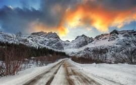 Neve, estrada, montanhas, inverno, anoitecer