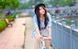 Summer, Asian girl, bike
