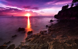 Preview wallpaper Sunset, sea, rocks, dusk