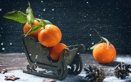 Preview wallpaper Tangerines, oranges, sleigh, fruit