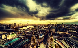 Travel to London, city top view, evening