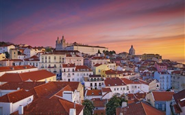 Preview wallpaper Travel to Portugal, Lisbon, city, houses, morning