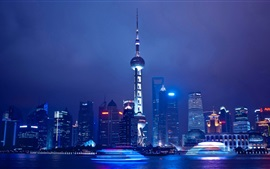 Travel to Shanghai, China, night, river, skyscrapers, tower, lights