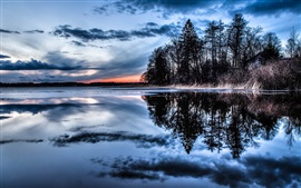 Trees, lake, water reflection, thick clouds, dusk