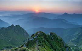 Preview wallpaper Ukraine, Carpathians, mountains, sunset, dusk