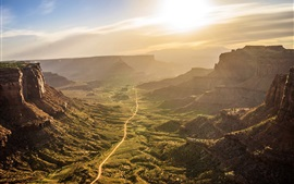 Valley, road, sunrise, morning, Canyonlands National Park, USA