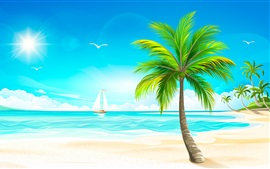 Vector design, beach, palm trees, sun, sea, boats, birds