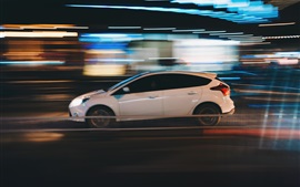 Preview wallpaper White car speed, side view