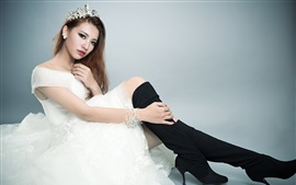 White dress Asian girl, bride, pose