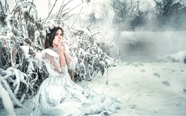 Preview wallpaper White dress girl in winter, snow, cold