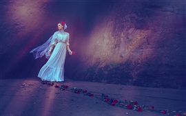 White dress girl, red rose flowers