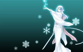 Preview wallpaper White hair anime girl, kimono, sword, snowflakes
