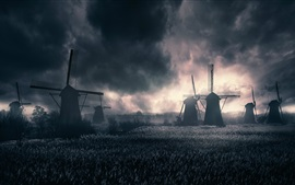 Moinhos de vento, campo, nuvens, crepúsculo