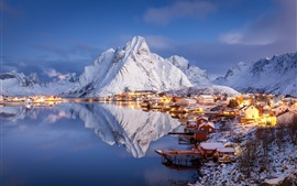 Winter, beautiful village, islands, mountains, snow, pier, water