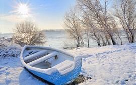 Invierno, nieve, barco, árboles, río