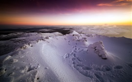 Preview wallpaper Winter, snow mountains, sunset