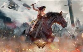 Preview wallpaper Wonder Woman, war, riding horse, Gal Gadot