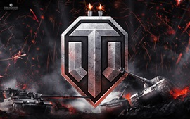 Preview wallpaper World of Tanks, logo, sparks