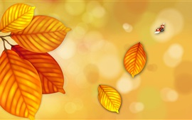Preview wallpaper Yellow leaves, ladybug flying, creative picture