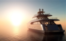 Preview wallpaper 3D design, sea, yacht, fog, dawn