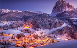 Preview wallpaper Alps, mountains, town, winter, snow, night