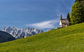 Preview wallpaper Alps, slope, mountains, church