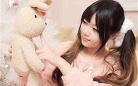 Preview wallpaper Asian girl and toy rabbit