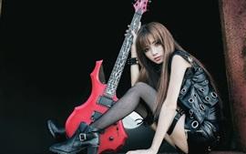 Aperçu fond d'écran Asiatique fille, musique, guitare