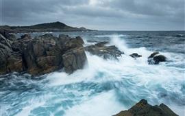Атлантический океан, Канада, море, камни, волны