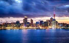 Окленд, Новая Зеландия, море, бухта, город, небоскребы, ночь