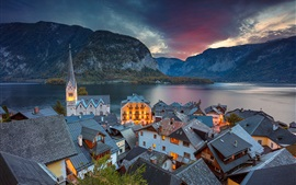 Preview wallpaper Austria, Hallstatt, Alps, houses, lake, clouds, dusk