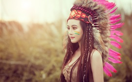 Preview wallpaper Beautiful Asian girl, Indian style, feathers