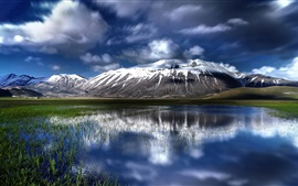 Preview wallpaper Beautiful nature landscape, clouds, water reflection