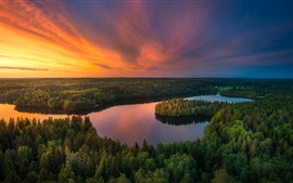 Beautiful nature landscape, lake, trees, forest, sunset