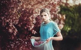 Blue skirt girl, flowers, garden, spring