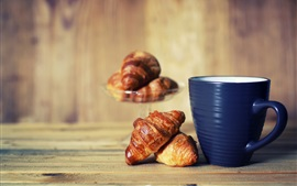 Preview wallpaper Bread, blue cup, breakfast