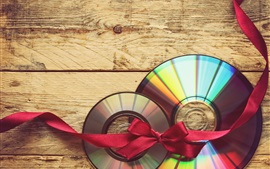 Preview wallpaper CD, red ribbon, wood board