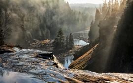 Preview wallpaper Canada, Ontario, trees, mountains, fog, river, morning