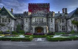 Canada, château, jardin, ciel bleu, crépuscule