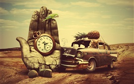 Preview wallpaper Cat driving a car, stone hand, clock, creative design
