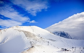 Caucasus, snow, mountains, clouds