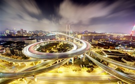 China, Shanghai, Nanpu Bridge, noite, luzes, estrada, edifícios