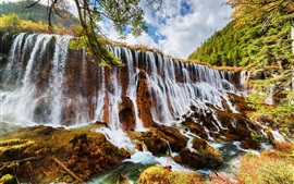 Preview wallpaper China, nature landscape, waterfalls, trees, autumn, Jiuzhaigou