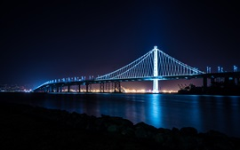 City, bridge, bay, lights, night, San Francisco, USA