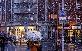 City, snowing, winter, street, people, umbrella